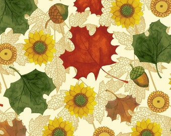 Acorns, Leaves & Sunflowers Fabric, Fall Quilt Fabric, Clothworks Autumn Reverie CLTY 2182 59, Sunflower Quilt Fabric, Fall Cotton Yardage