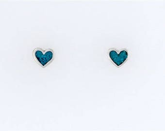 Sterling Silver Turquoise Heart Post or Stud Earrings