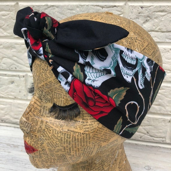 Skulls and Roses Headscarf Rockabilly Pinup 50's Inspired