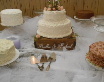 Personalized Rustic wedding cake stand, 12 x 12 cake stand/riser, custom wood cake stand, wooden wedding cake stand