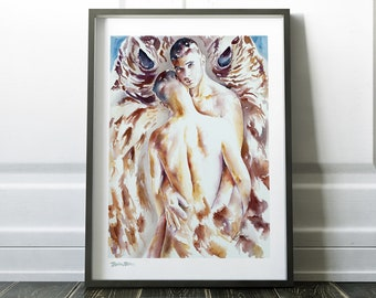 Erotic Nudity, Gay Art, Wall Art, Bedroom Prints, Watercolor Print, Original Painting, Painting Print, Love Art Print, Sexual Painting