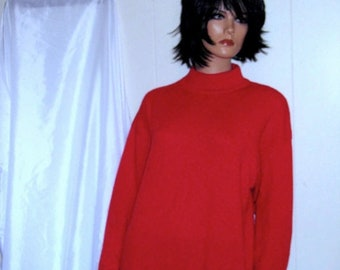 ON SALE Beautiful Soft POPPY Red Mock Turtle Neck  Cashmere  Womens Large Mint Condition