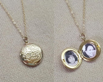 Picture locket, Circle photo locket necklace, Round locket picture pendant, Gold locket necklace