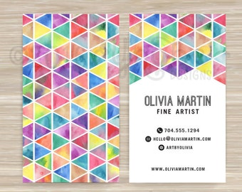 Square geometric cube business card designer artist geometric triangle color watercolor fine artist business card vistaprint colourmoves