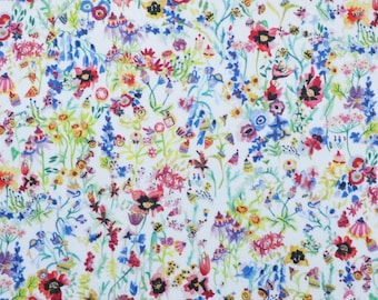 SS18 Liberty fabric  Tana Lawn Floral Picnic A 9x26'' fat eighth -  red/blue/green - NEW The Alpine Symphony Collection