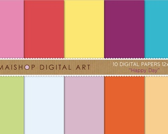 Solid Color Digital Paper 'Happy Day' Pink, Red, Yellow, Purple, Blue, Green, Celeste, Lilac and Orange Backgrounds for Invites, Cards...