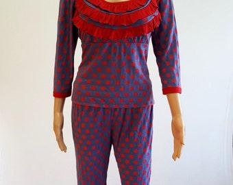 Red Polka Dot Ruffle Long Sleeves Women Pajama Set