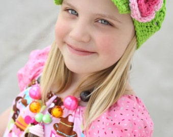 All sizes available Brimmed Newsgirl Newsboy Crocheted Hat in Lime Green,Pink, and Hot Rose