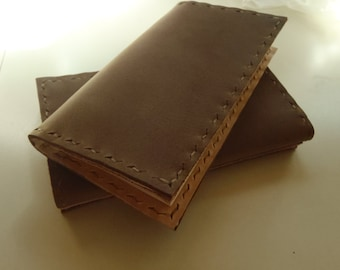 CSherwoodLeather Saddle Brown Leather Basic Checkbook Cover, Checkbook Wallet. Hand Stitched. Cowhide Leather, 2 Pocket Checks & Register
