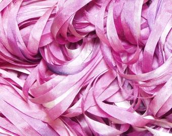 Mauve Rose Hand Dyed Silk Ribbon