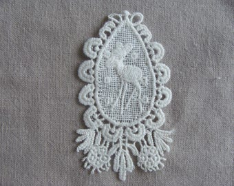 2 applique embroidery deer flower oval flat 8, 5 * 4, 5 cm cream cotton lace