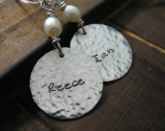 Mommy Charms Hand Stamped Sterling Silver Necklace Hammered with Love