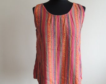 FREE SHIPPING - Vintage Pink, green, yellow and orange striped 100% Viscose tank top, size Woman's 38/40