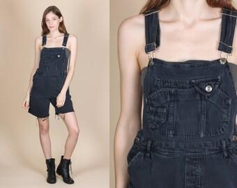 90s Grunge Overall Shorts - Small // Vintage Black Denim Cutoff Jean Shortalls