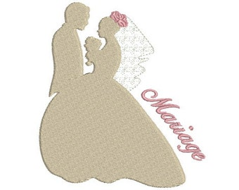 Embroidery design machine silhouette married couple wedding instant download
