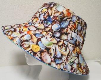 "Bucket Hat 24"" XLarge Sea Shell hat, Sea Shell, Beach hat, Plaid hat, Reversible bucket hat, Blue plaid hat"