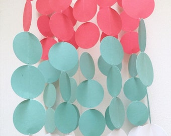 Coral, Turquoise, and White Baby Mobile, OR Customize colors to fit your nursery decor / modern baby mobile