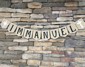Immanuel burlap banner, Immanuel banner Christmas banner, Christmas garland, Christmas decoration, Christmas photo prop, Christmas bunting