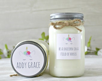 Personalized Unicorn Gift Candle / Friend Gift / Unicorn Gift / Birthday Gift / Personalized Gifts for Her / Best Friend Gift Candle