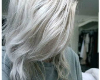 Balayage Dip Dye 8A Remy Ombre  Grey Human Clip In Hair Extensions Colour 60 Platinum Blonde Gray Silver