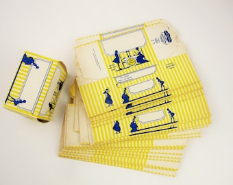 Twenty Ice Cream Cartons - One Pint Size - New/Old Stock - Yellow, White and Blue Designed - Blank Info - Renew, Reuse, Re-Up, Repurpose