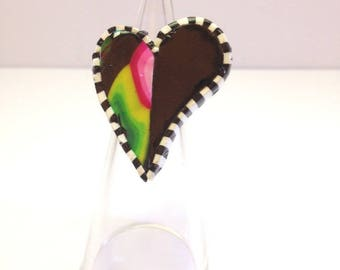 Heart polymer clay and bronze metal ring