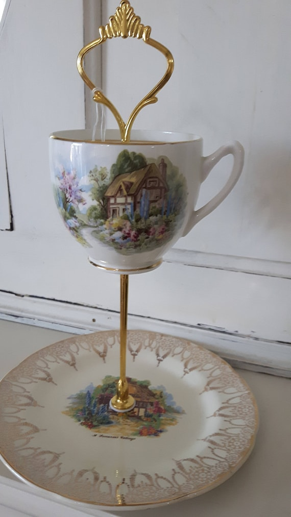 Vintage china cake stand, trinket stand, featuring gorgeous country cottage garden design