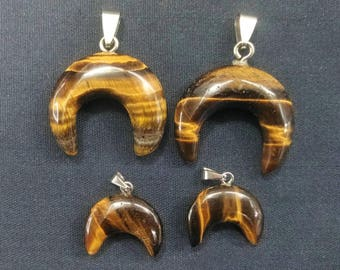 10pcs/lot Natural Black Gold Tiger Eye Stone Double Horn Pendant,Crescent Moon Pendant,Ox Horn Pendant,Moon Pendant,mens pendant