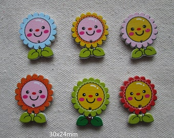 Wholesale lot   100pcs  sunflower  wood Button DIY      29x23mm
