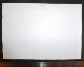 Background of embossed white card/page honeycombs 21x29.7cm 210g