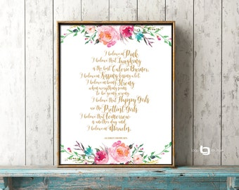 I Believe In Pink Print, Happy Girls Are The Prettiest Print, Audrey Hepburn Quote Print, Audrey Hepburn Pink Print, Watercolor Flowers