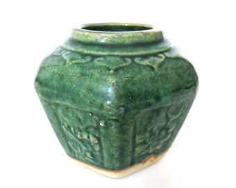 Green Glazed Ginger Jar, Collectible pottery. #70DG1B6K1