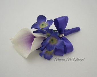 Real Touch Picasso Calla Lily Boutonniere, Purple Hydrangea Mens Lapel Pin, Groomsmen Buttonhole Flower