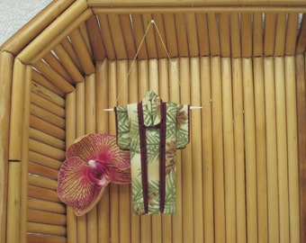 """3"""" Ornament. """"Gold Pine."""" Fabric Origami Kimono: Japanese Holiday Decoration. Gold Green Champagne Burgundy. Hang it, Frame it, Give it."""