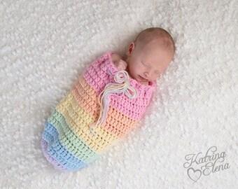 Rainbow  Baby Swaddle Sack/ Newborn Swaddle Sack/ Baby Cocoon Prop/ Rainbow/ Baby Boy Prop/ Baby Girl Prop/ Colorful Newborn Prop