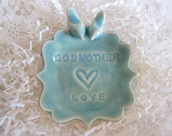 Godmother gift, mint green ring dish,  handmade ring holder for Godmother ceramic pottery
