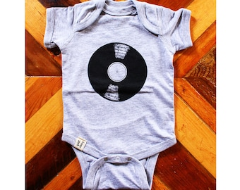 Record ) Onesie ) Heather Grey