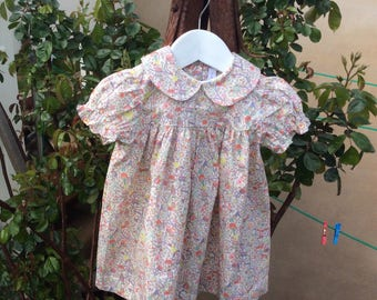 Liberty Tana Lawn Baby Dress in  'Toy Garden' pink