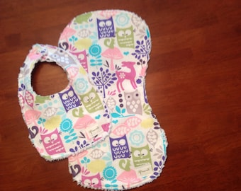 Forest Retro Baby Girl Gift Set, Burp Cloth, Bib - Ready to Ship