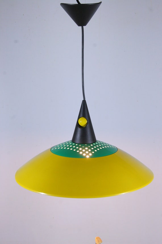 Hanging lamp shade memphis design era 1980s green yellow