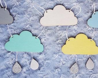 Wooden hand painted nursery cloud bunting kids Bedroom room baby children's glitter raindrops decorations garland