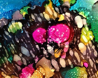 Under the Sea 5x7 Alcohol Ink Painting on Yupo