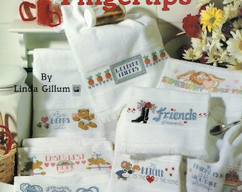 Finger Tip Towels Cross Stitch Charts  - Tea Towel Cross Stitch - Kitchen Towel Cross Stitch - Linda Gillum - Leisure Arts 2444