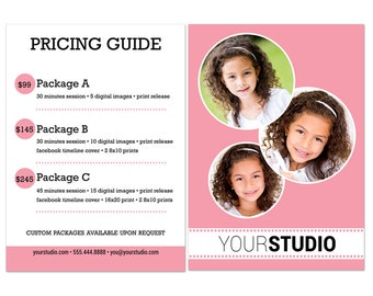 Photography Price List | Price Guide Photoshop Template 001 for Professional Photographers