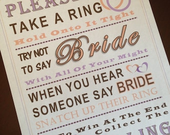 Bridal Shower Game: Don't Say Bride ***RING***