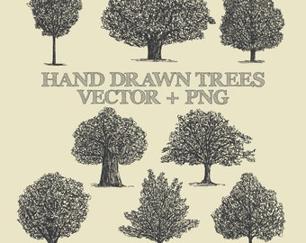 Tree Clipart Vector Pack - Vintage Hand Drawn Tree Drawing Clipart Clip Art PNG & Vector EPS, AI Design Elements Digital Instant Download