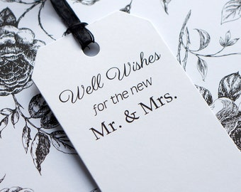 Wedding Wish Tree Tags - Well Wishes for the new Mr and Mrs - Black and White Wishing Tags - Bride & Groom Wishes - Favors - 2.5 by 4.75 in