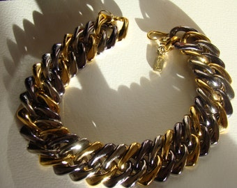 YSL Yves Saint Laurent Silver and Gold Tones Chain Choker Necklace