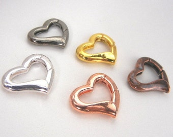 Heart charm holder or removable charm or clip clasp for charms & key chains in 5 colors for handbag, purse, backpack - ornament hanger