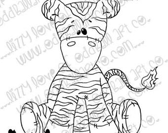 Digi Stamp Digital Instant Download Whimsical Ragdoll ~ Zeddy the Zebra Image No. 209 by Lizzy Love